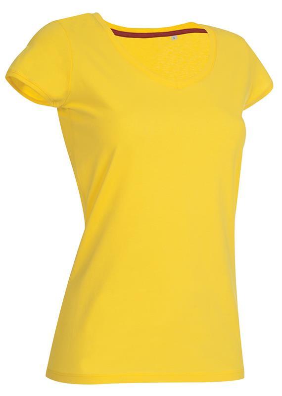 t-shirt da donna in jersey giallo collo a v