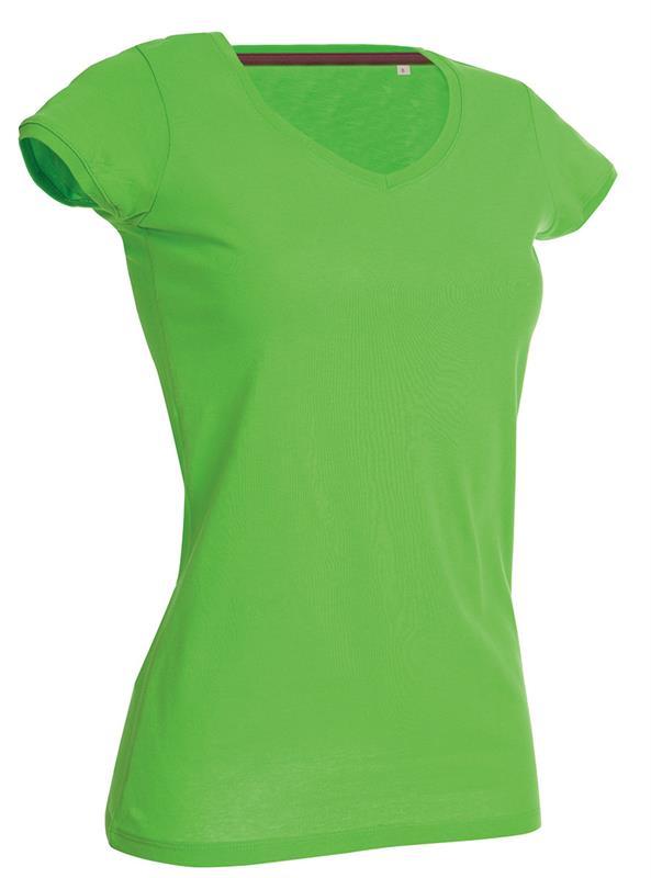 t-shirt da donna in jersey verde collo a v