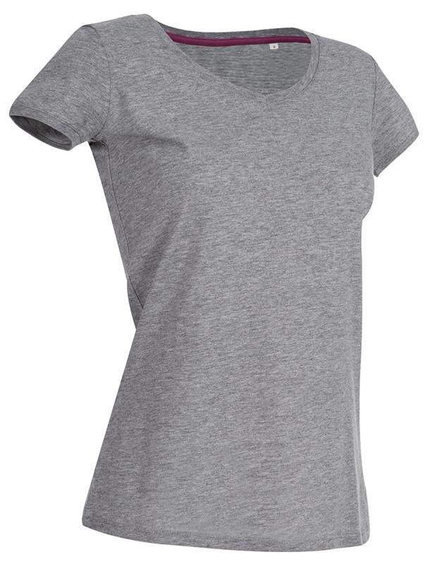 t-shirt da donna in jersey grigio collo a v
