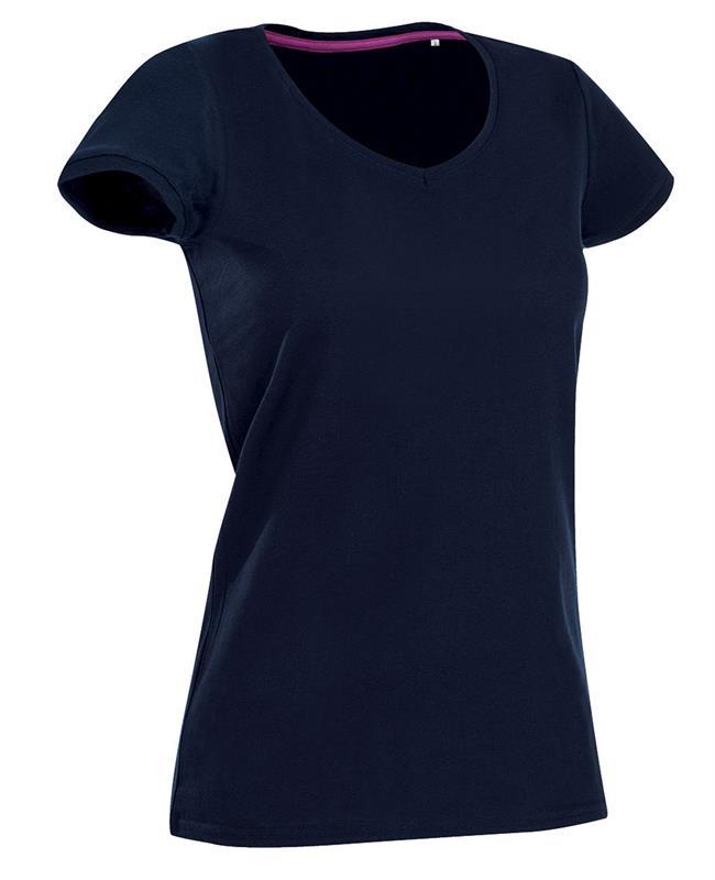 t-shirt da donna in jersey blu marino collo a v