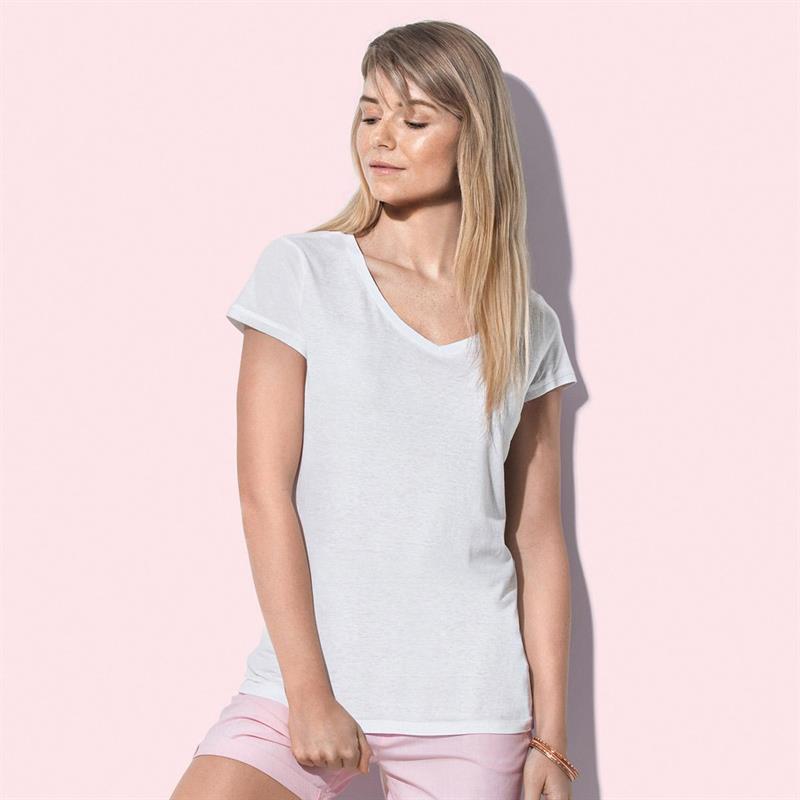 t-shirt da donna in jersey bianco collo a v