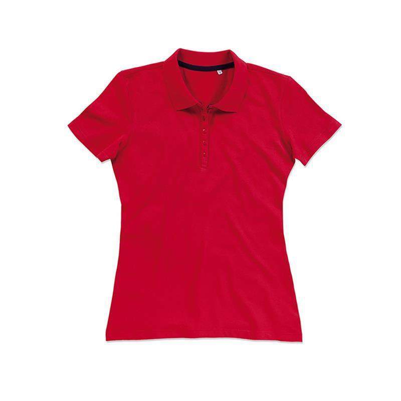 polo da donna in piqué rosso con 5 bottoni tono su tono