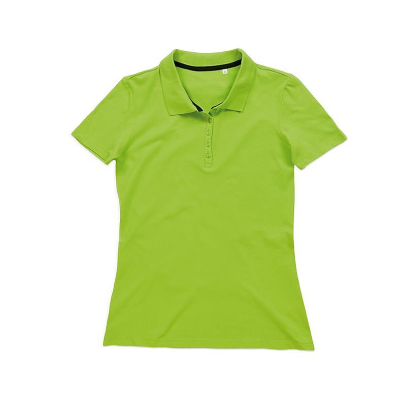 polo da donna in piqué verde con 5 bottoni tono su tono