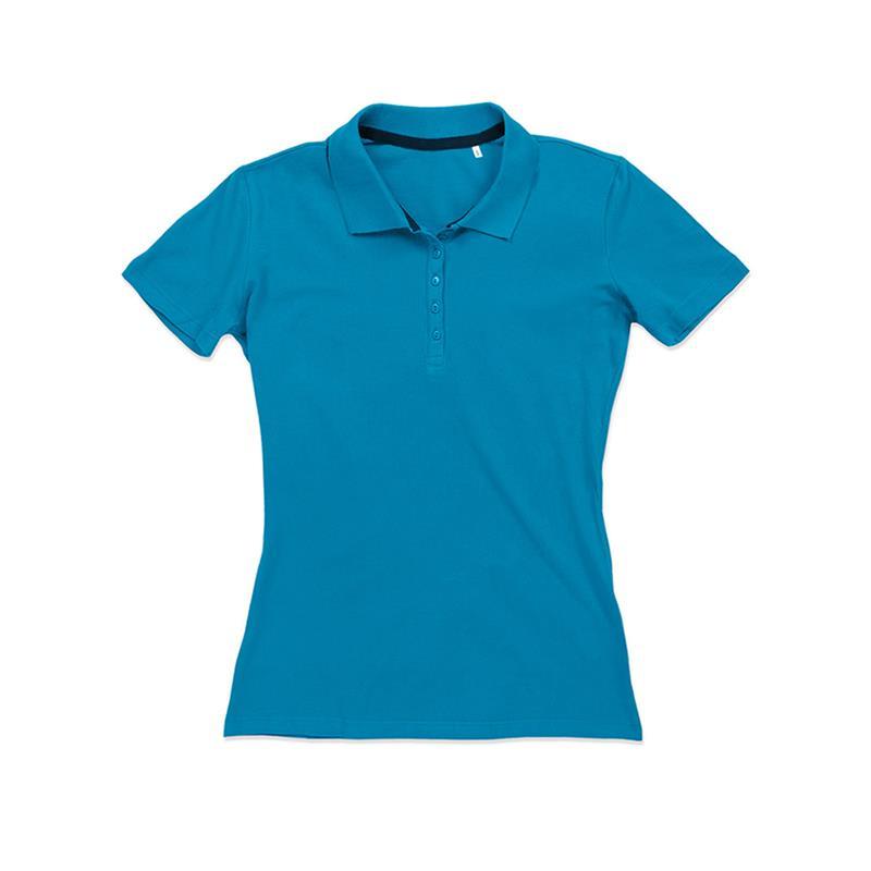 polo da donna in piqué blu chiaro con 5 bottoni tono su tono