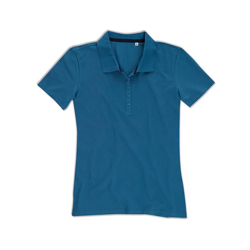 polo da donna in piqué blu reale con 5 bottoni tono su tono