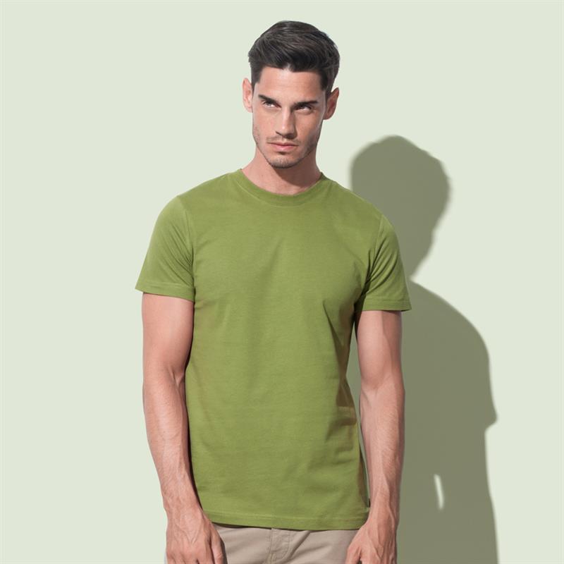 t-shirt da uomo in cotone verde filato ad anelli con girocollo