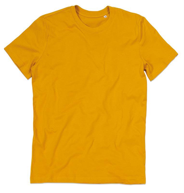t-shirt da uomo in cotone senape filato ad anelli con girocollo