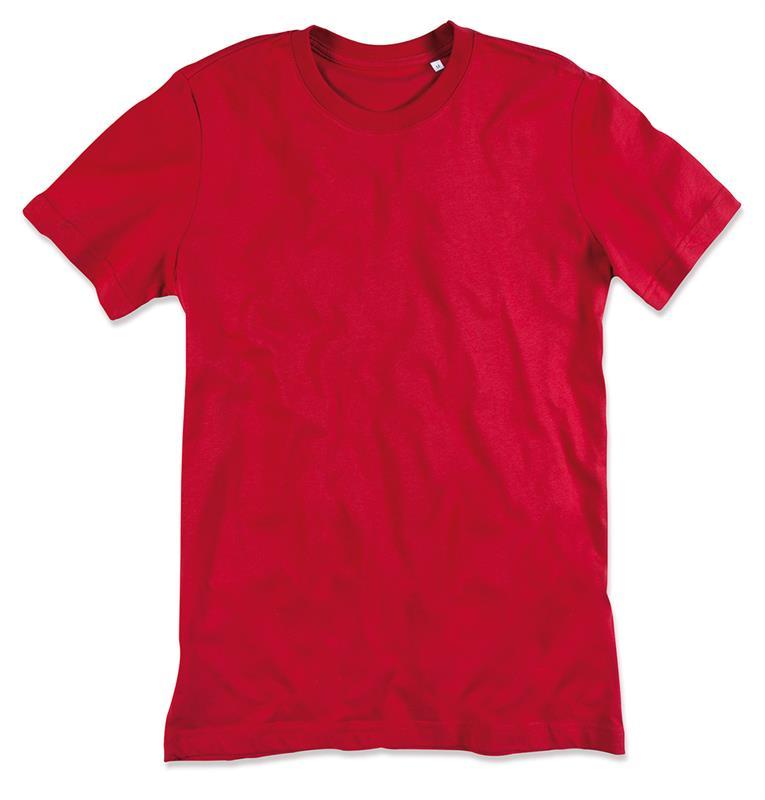 t-shirt da uomo in cotone rosso filato ad anelli con girocollo