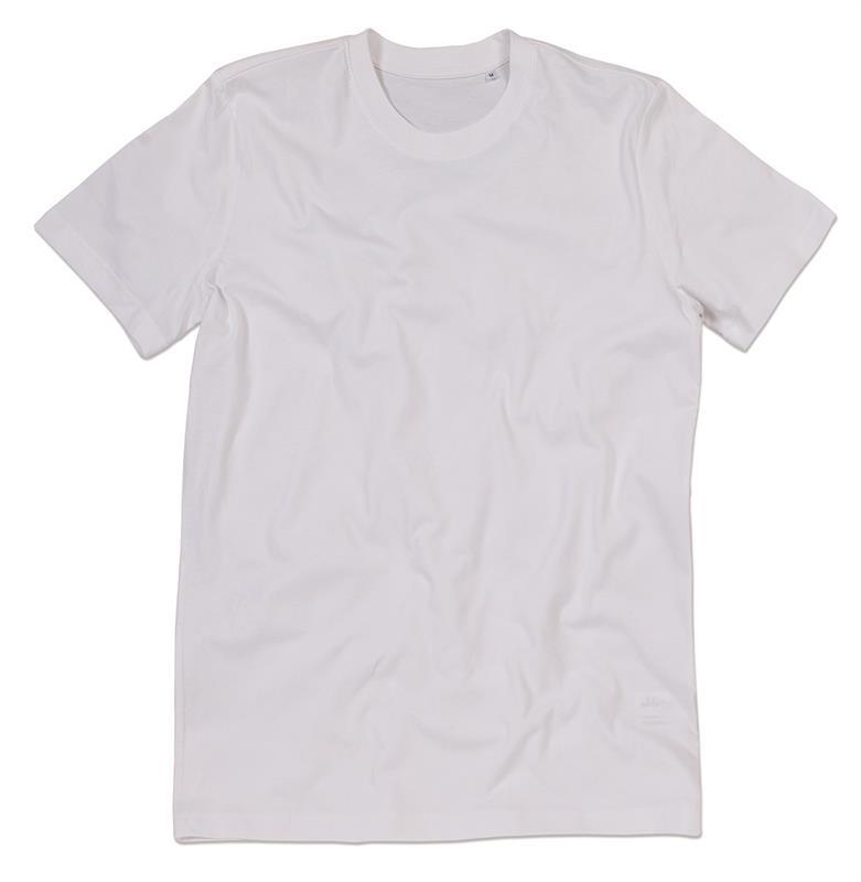 t-shirt da uomo in cotone bianco filato ad anelli con girocollo