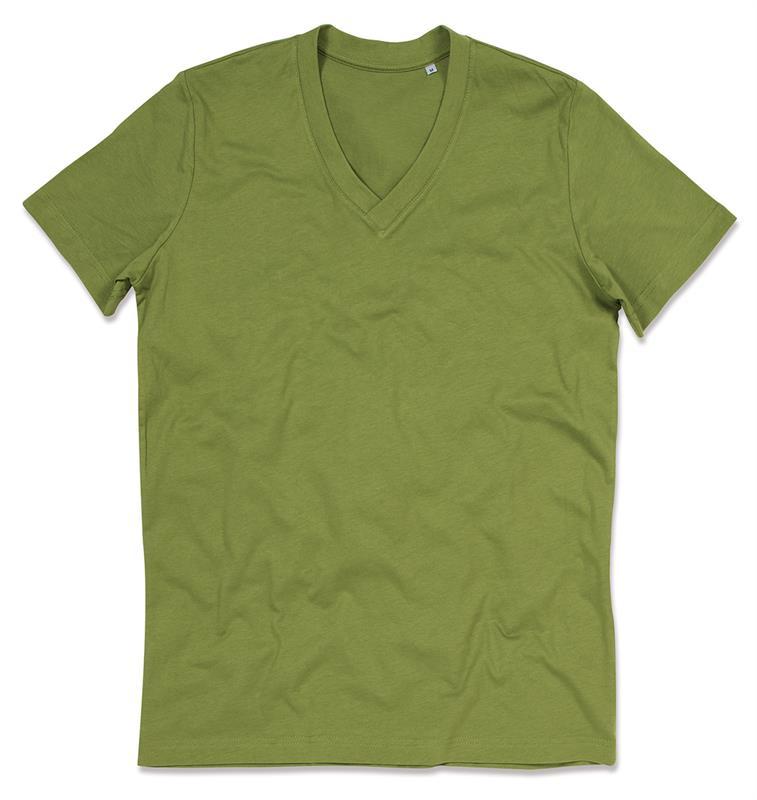 t-shirt da uomo in cotone verde con collo a v