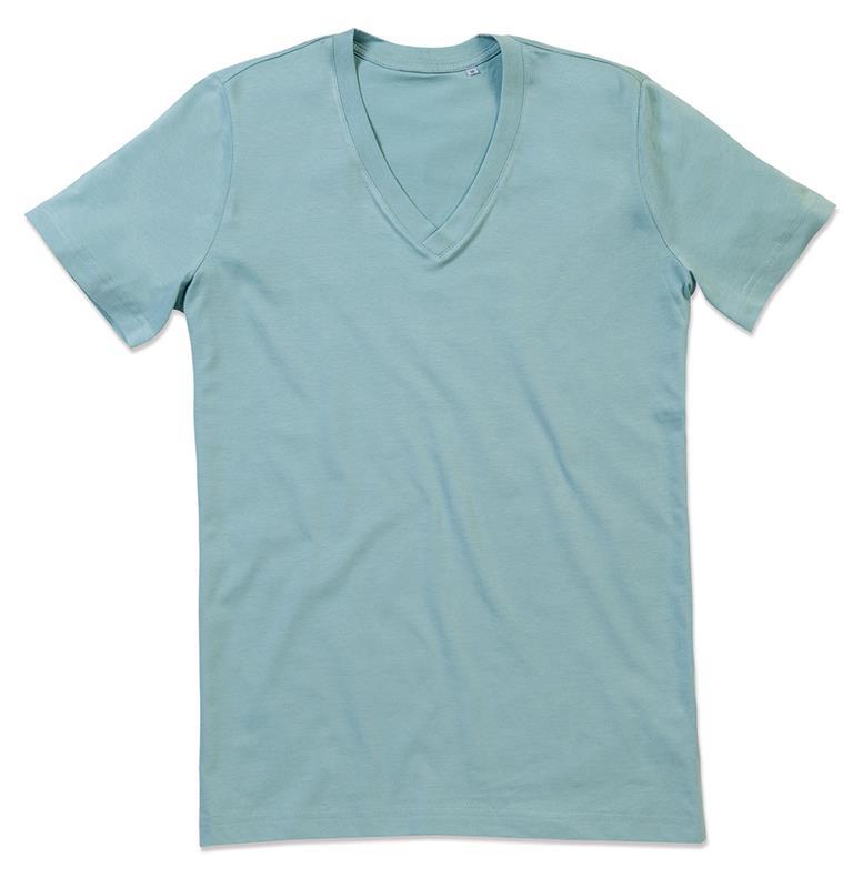 t-shirt da uomo in cotone celeste tenue con collo a v
