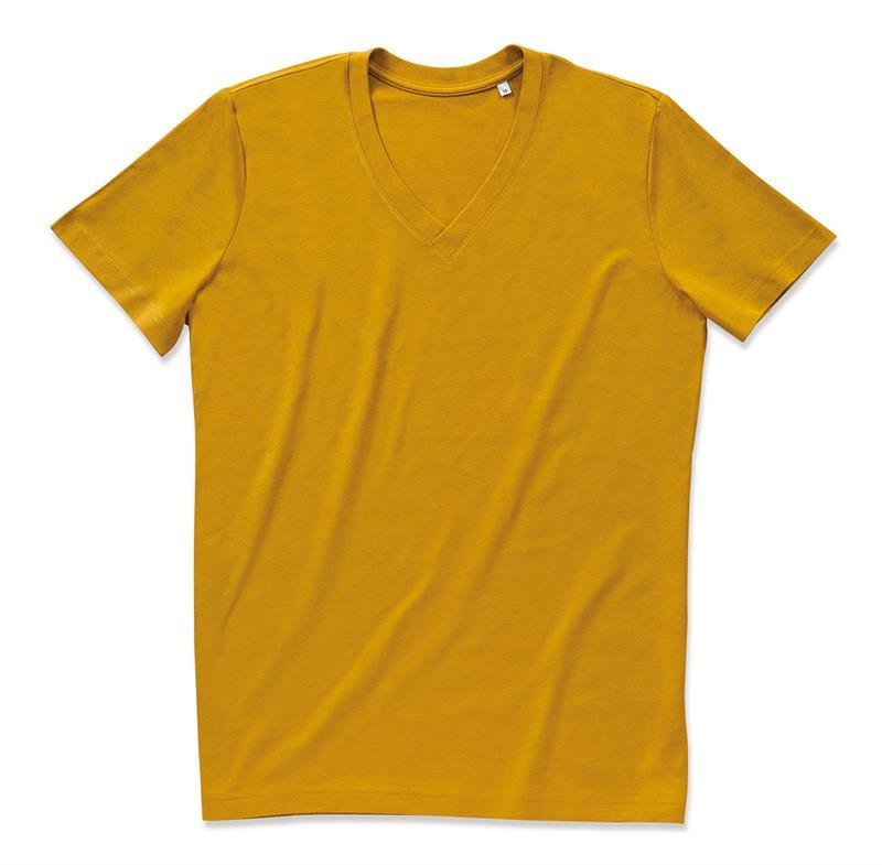 t-shirt da uomo in cotone senape con collo a v