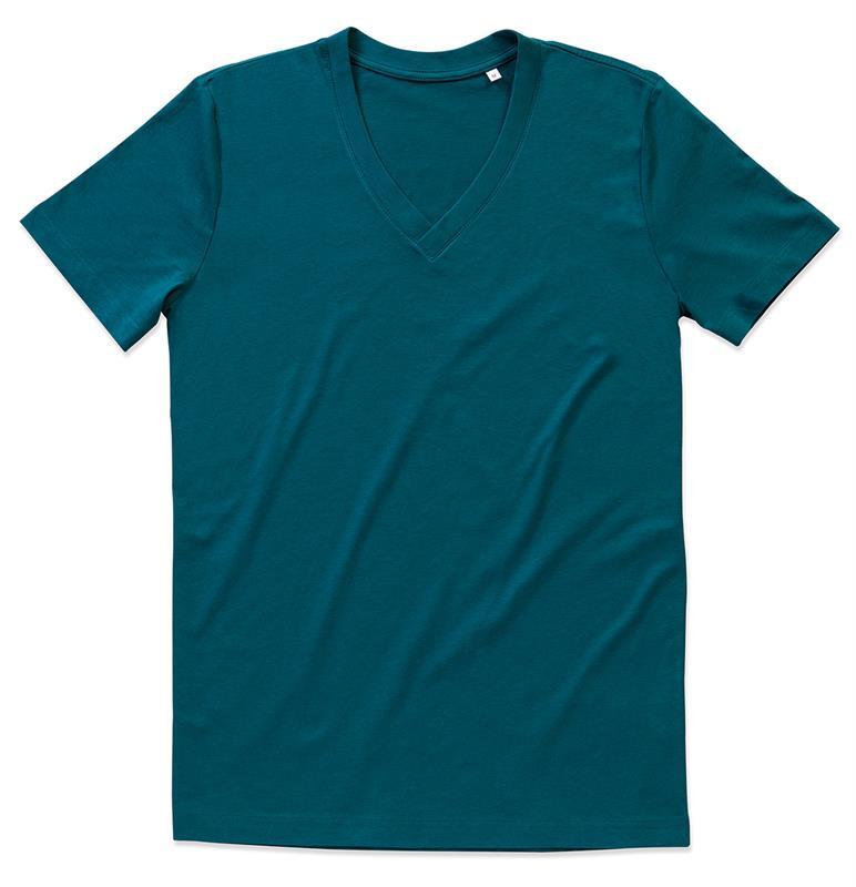t-shirt da uomo in cotone blue con collo a v