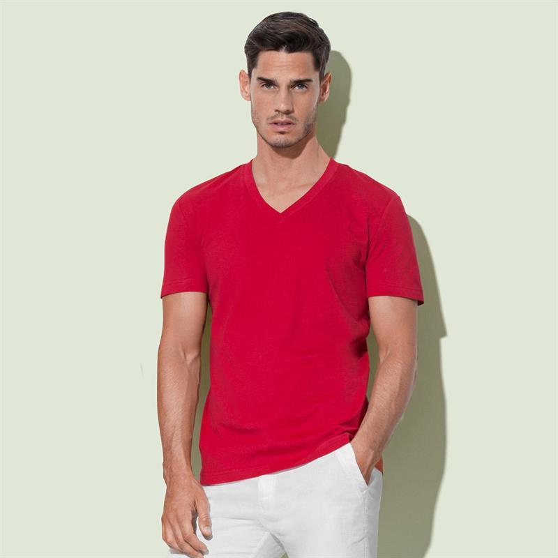 t-shirt da uomo in cotone rosso con collo a v