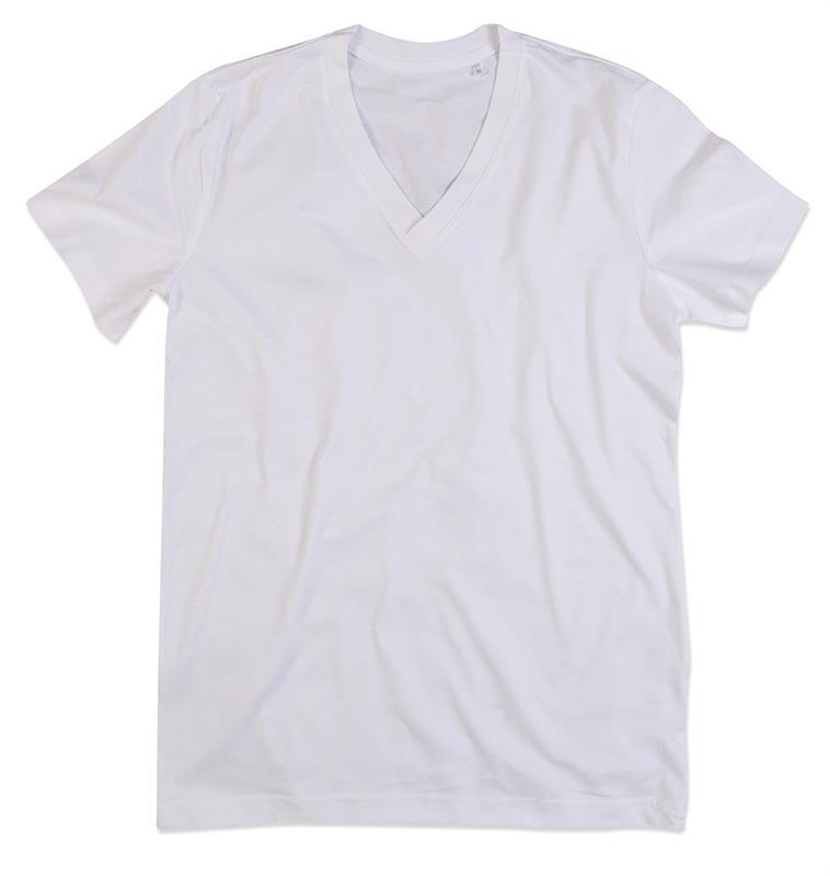 t-shirt da uomo in cotone bianco con collo a v