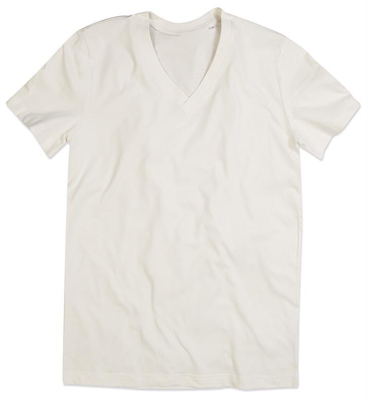 t-shirt da uomo in cotone winter white con collo a v