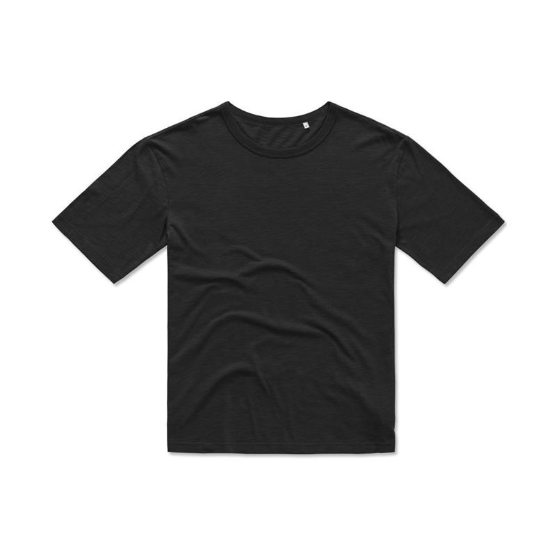 t-shirt da uomo in cotone filato nero con girocollo
