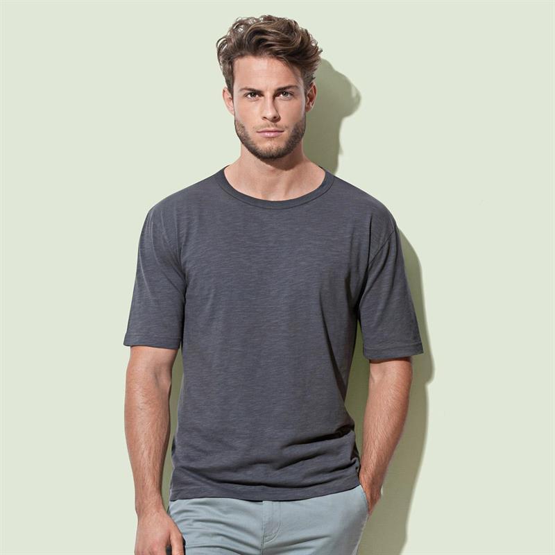 t-shirt da uomo in cotone filato grigio con girocollo