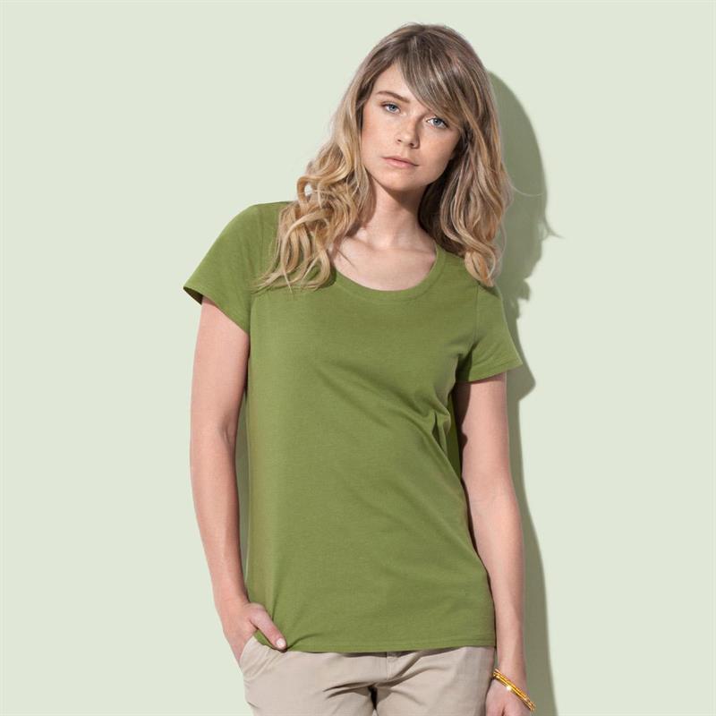 t-shirt da donna in cotone verde filato ad anelli