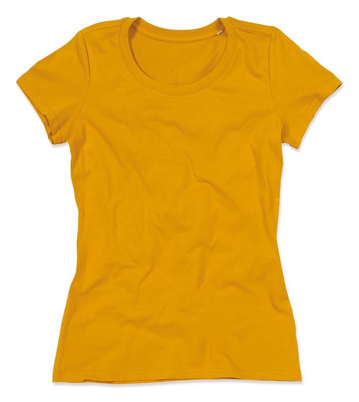 t-shirt da donna in cotone senape filato ad anelli