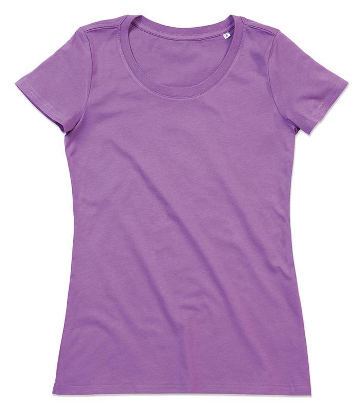 t-shirt da donna in cotone lavanda filato ad anelli