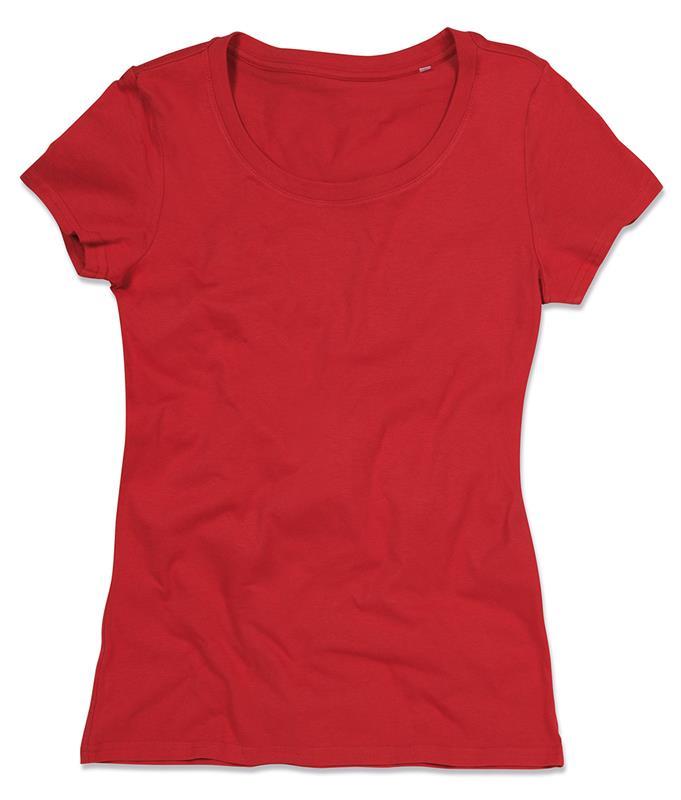 t-shirt da donna in cotone rosso filato ad anelli