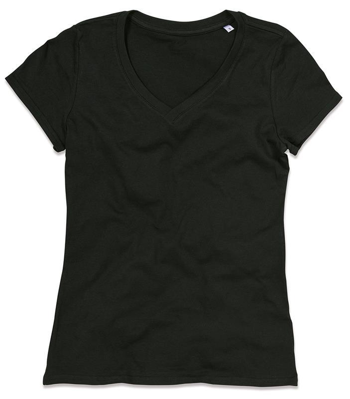 t-shirt da donna in cotone nero con collo a v