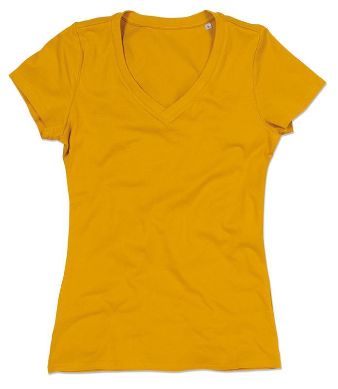 t-shirt da donna in cotone senape con collo a v