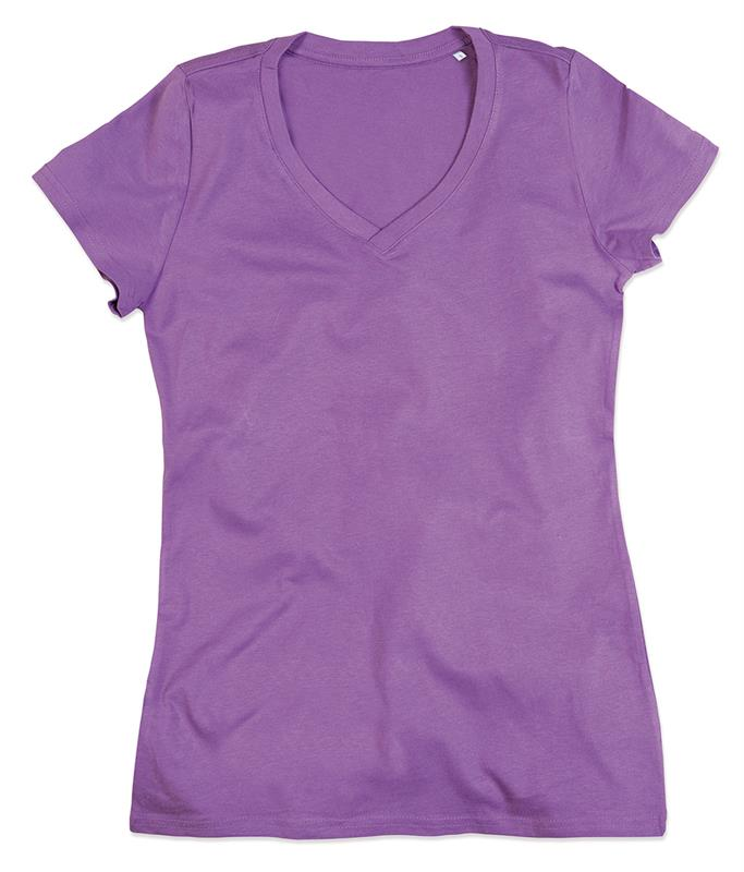 t-shirt da donna in cotone lavanda con collo a v