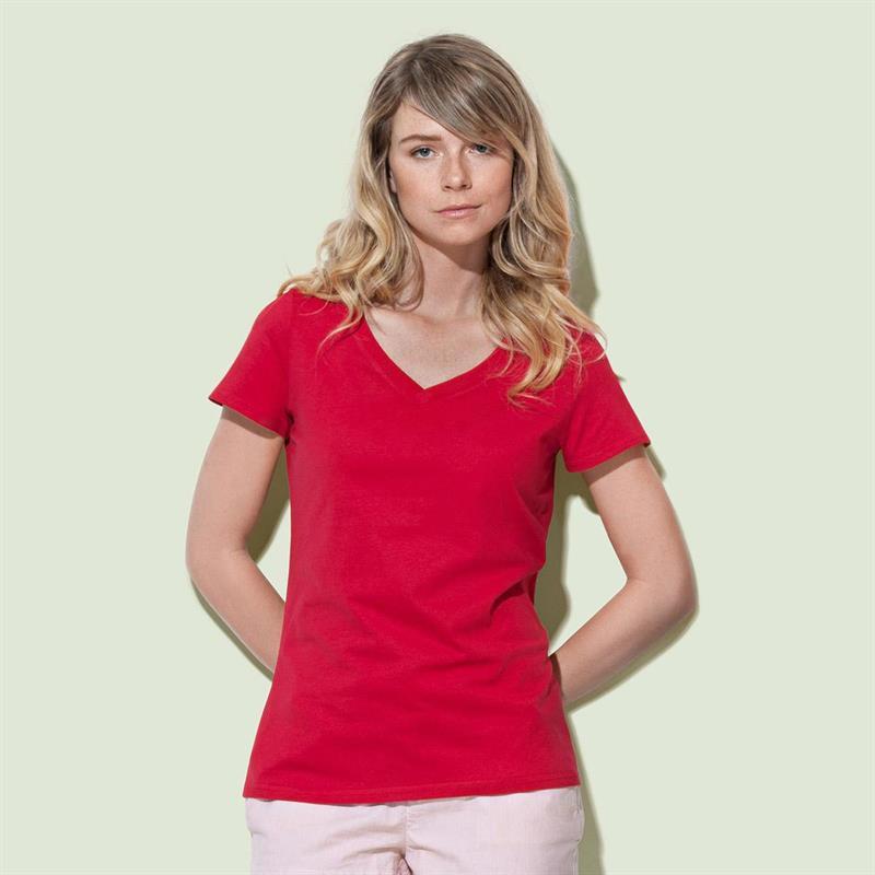 t-shirt da donna in cotone rosso con collo a v