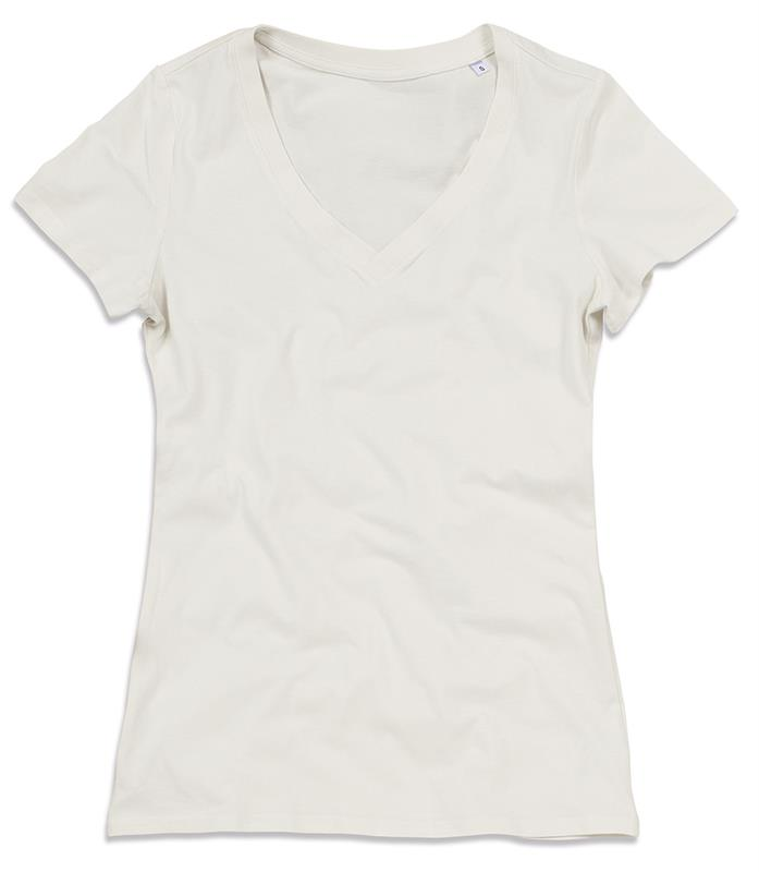 t-shirt da donna in cotone winter white con collo a v