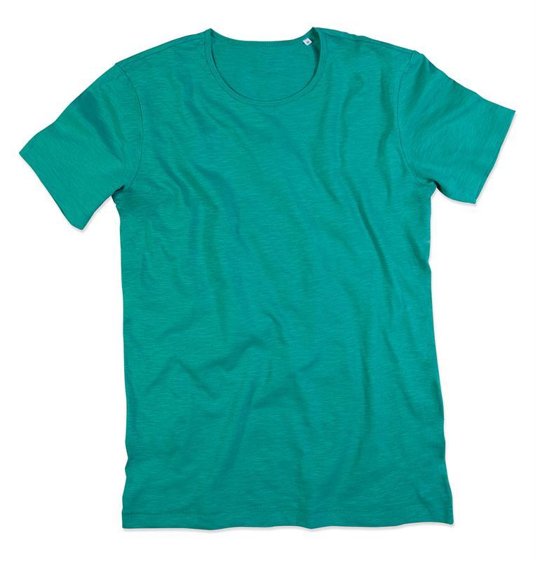 t-shirt da uomo in cotone verde con girocollo