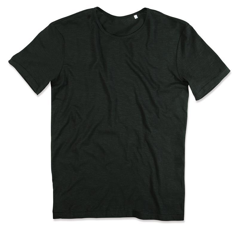 t-shirt da uomo in cotone nero con girocollo