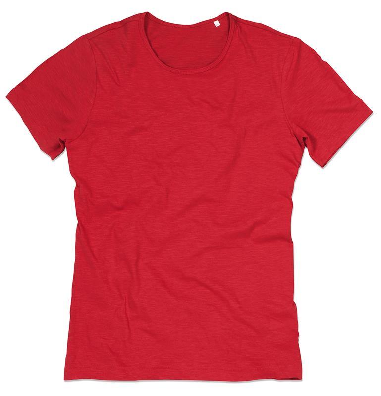 t-shirt da uomo in cotone rosso con girocollo