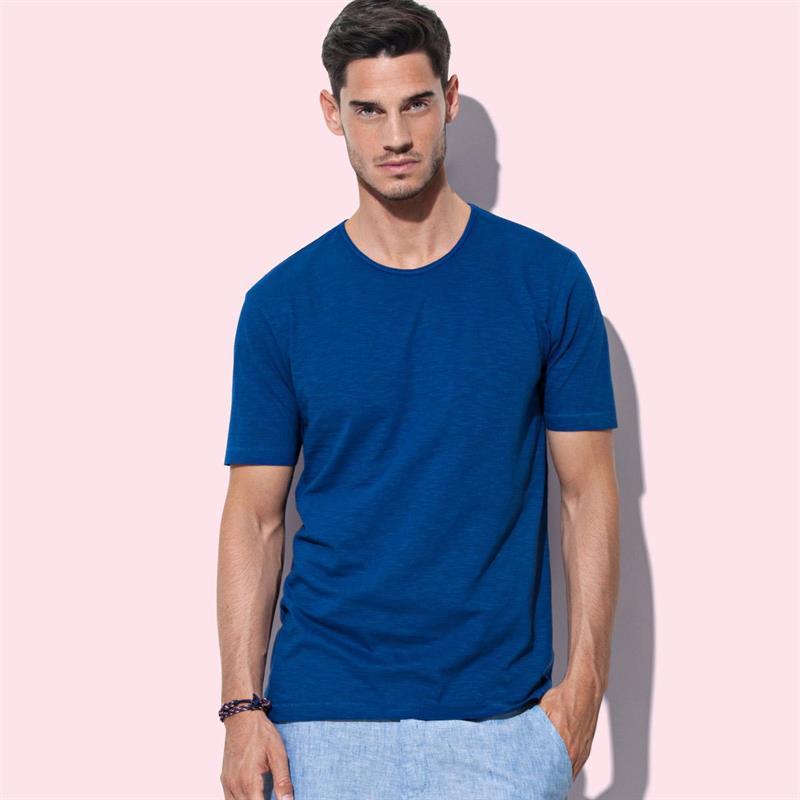 t-shirt da uomo in cotone blue con girocollo