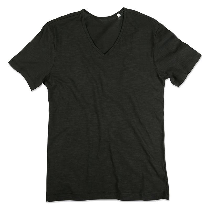t-shirt da uomo in cotone nero con collo a v