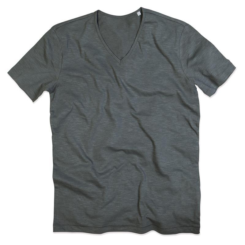 t-shirt da uomo in cotone grigio con collo a v