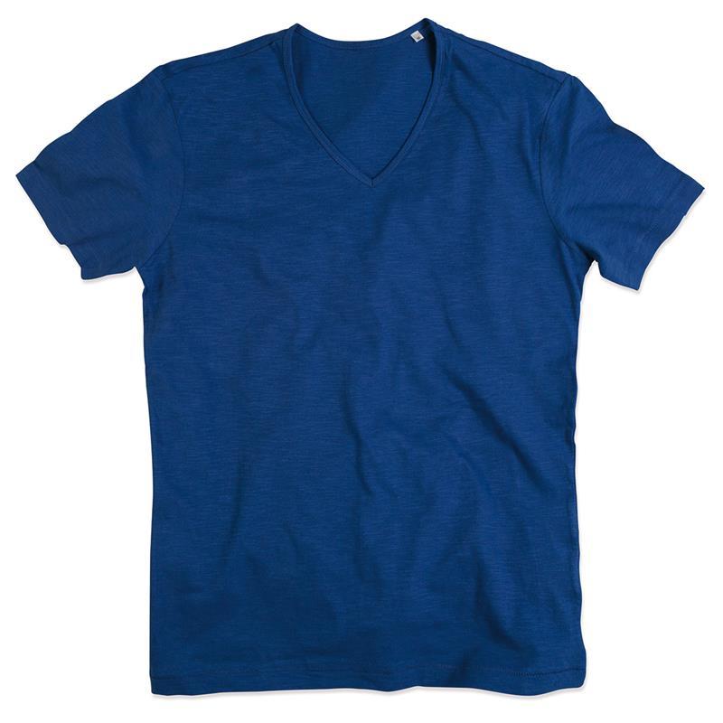 t-shirt da uomo in cotone blu con collo a v
