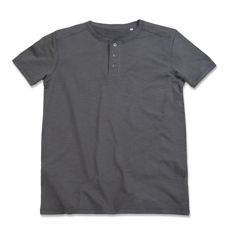 t-shirt da uomo in cotone grigio a collo rotondo con bottoni