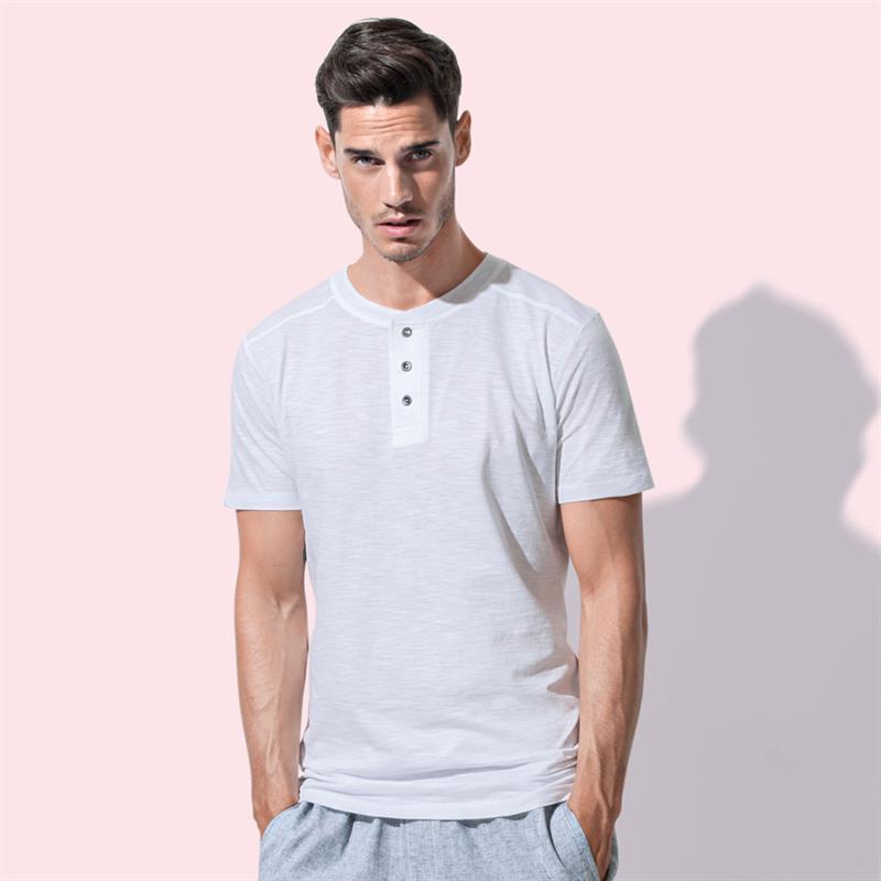 t-shirt da uomo in cotone bianco a collo rotondo con bottoni
