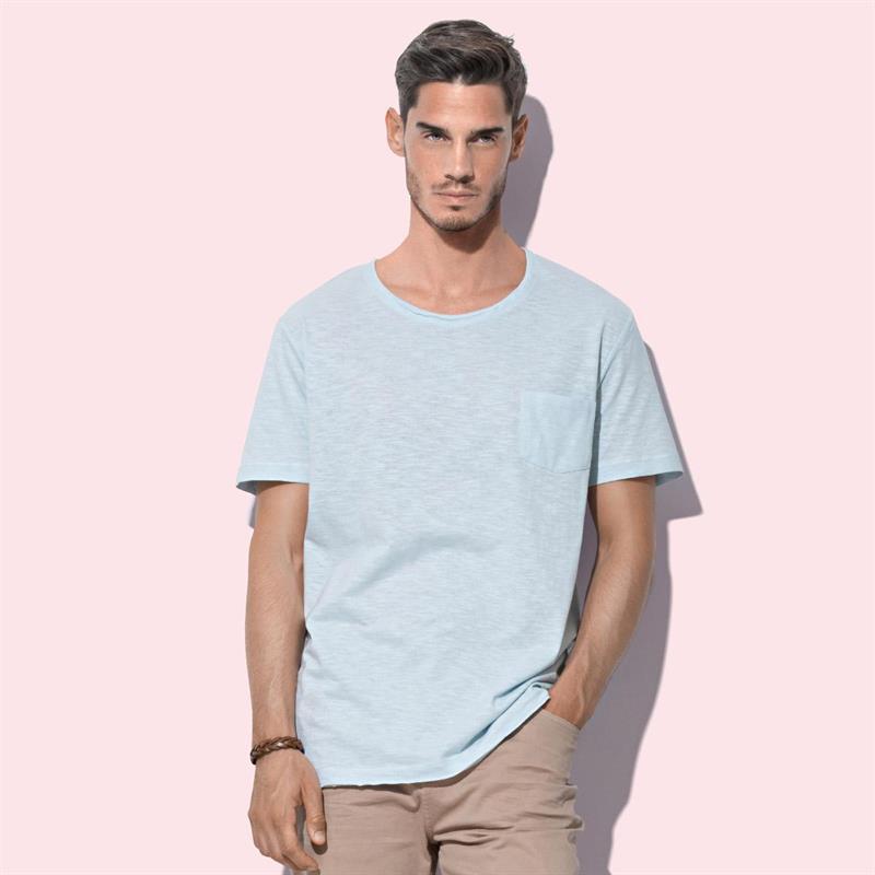 t-shirt oversize da uomo in cotone blu polvere maniche corte