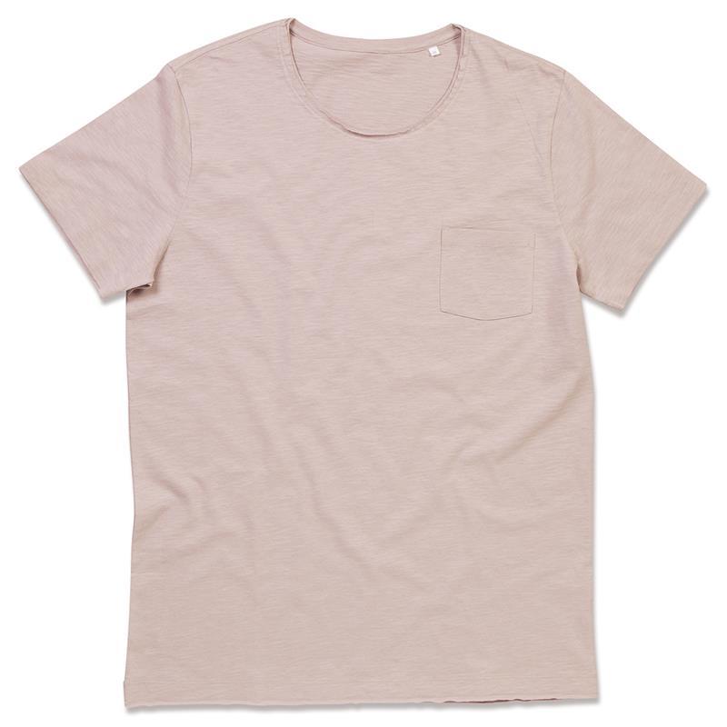 t-shirt oversize da uomo in cotone rosa polvere maniche corte