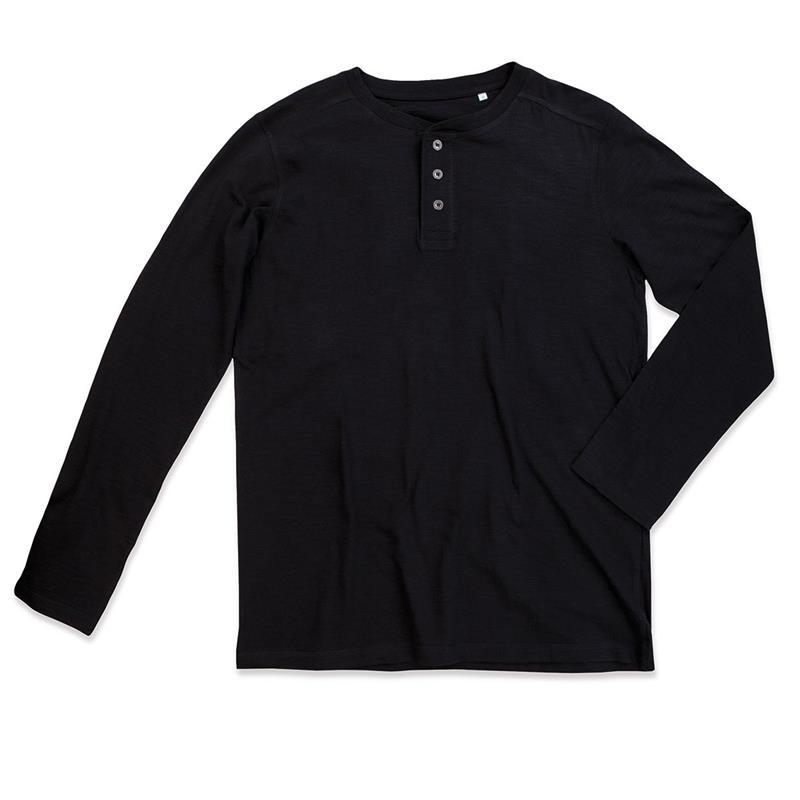 t-shirt da uomo in cotone nero con bottoni maniche lunghe