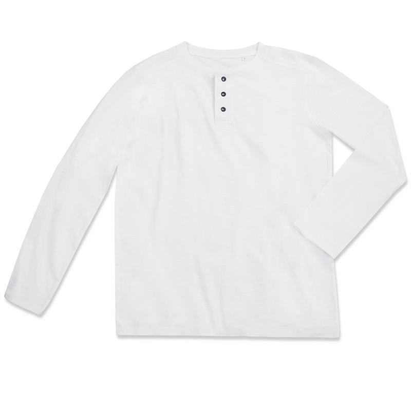 t-shirt da uomo in cotone bianco con bottoni maniche lunghe