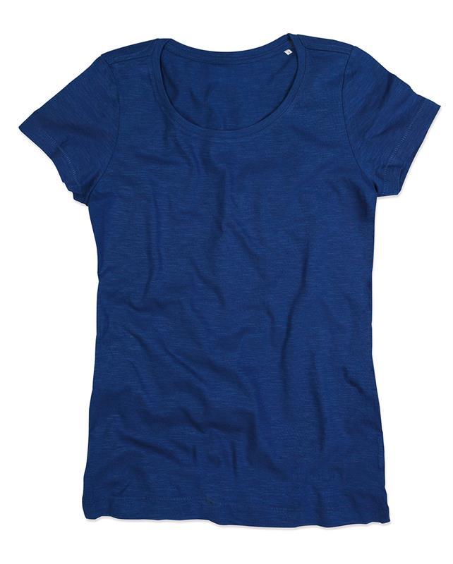 t-shirt da donna in cotone blu con girocollo