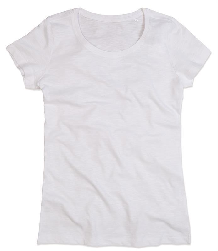 t-shirt da donna in cotone bianco con girocollo
