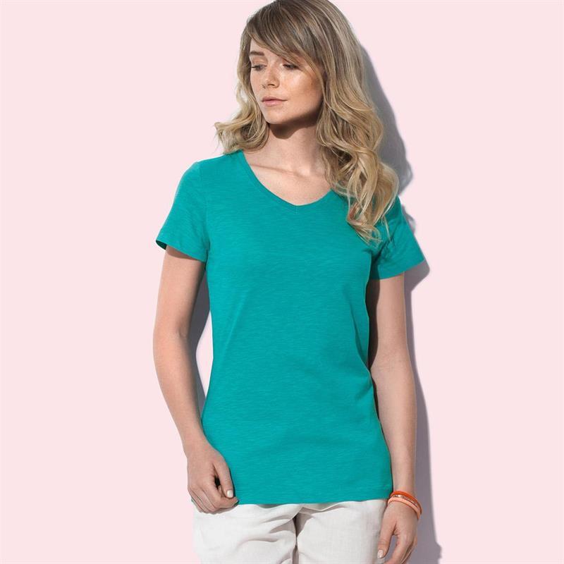 t-shirt da donna in cotone verde con collo a v