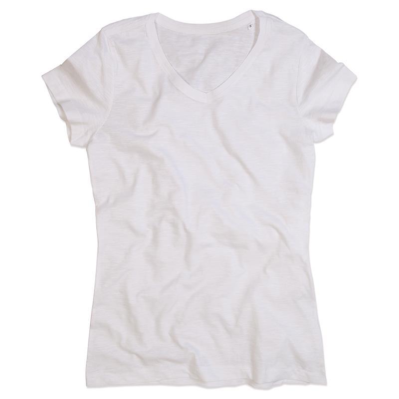 t-shirt da donna in cotone bianco con collo a v