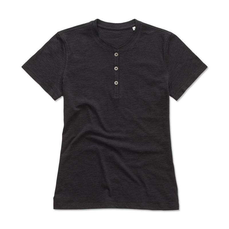 t-shirt da donna in cotone nero a collo rotondo con bottoni