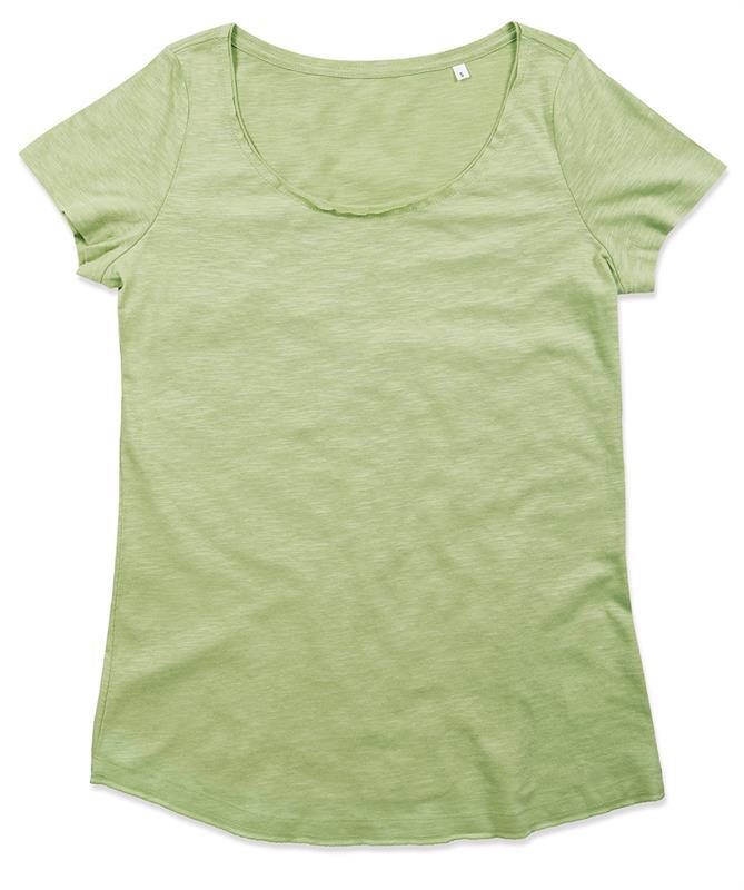 t-shirt oversize da donna in cotone verde polvere maniche corte